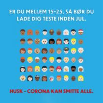 Plakat med opfordring til at lade sig coronateste